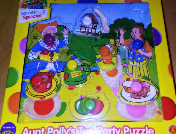 something special, aunt polly's tea party puzzle, mr tumble, aunt polly, tea party, golden bear toys, wooden puzzle
