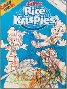 Rice Krispies, Kelloggs, art, colouring in, felt tip pens, glitter glue, squiggling, scribbling