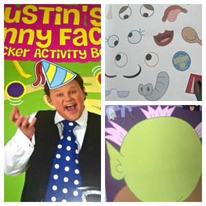 Justin's Funny Faces Sticker Activity Book, sticker book, Justin Fletcher, CBeebies