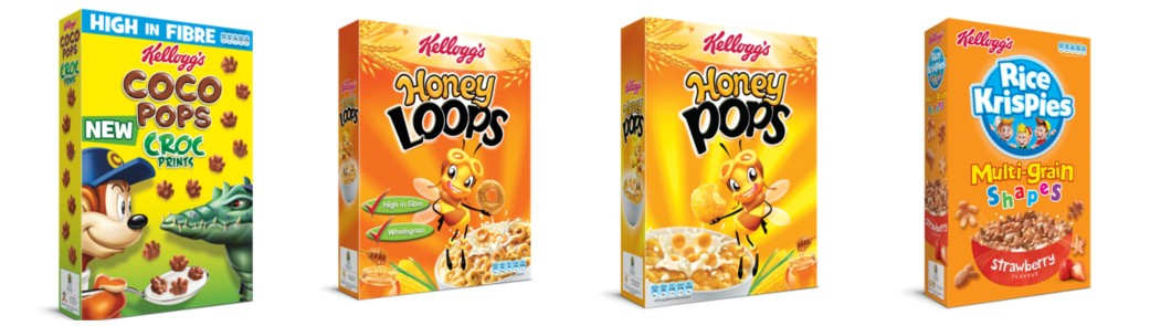 kelloggs, kelloggs cereals, cereals, breakfast, coco pops, coco prints, honey loops, honey pops
