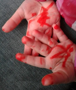 painted hands,drawn on hands, messy hands, toddler, messy, felt tip pen