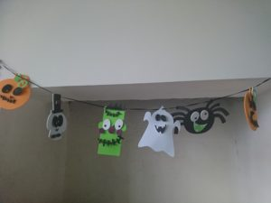 halloween, halloween decorations, halloween bunting, ghosts. frankenstein, pumpkin, skeleton